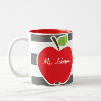 Apple on Dim Gray Horizontal Stripes Two-Tone Mug
