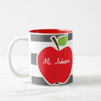 Apple on Dim Gray Horizontal Stripes Two-Tone Mug