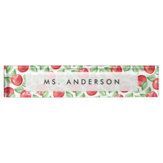 Apple Pattern Personalized Teacher Nameplate