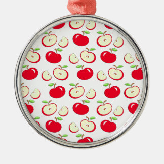 Apple pattern Silver-Colored round decoration