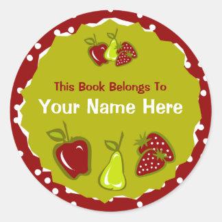 Apple Pear Strawberry Bookplate Sticker