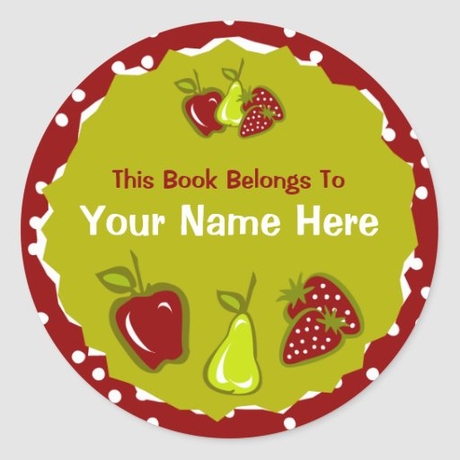 Apple Pear Strawberry Bookplate Sticker