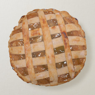 Apple Pie Baked and Raw Round Cushion