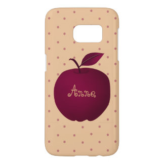 Apple Purple Polka Dots Pale Pink Personalized