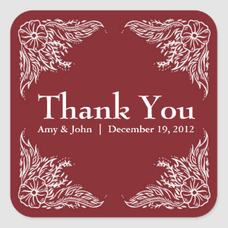 Apple Red & White Wedding Thank You Sticker