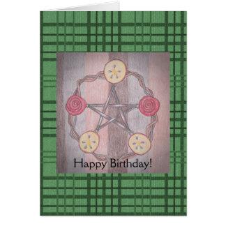 Apple Slice Pentacle Birthday Green Plaid Card