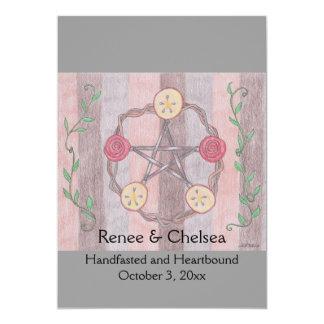 Apple Slice Pentacle Wreath Handfasting Wedding Card