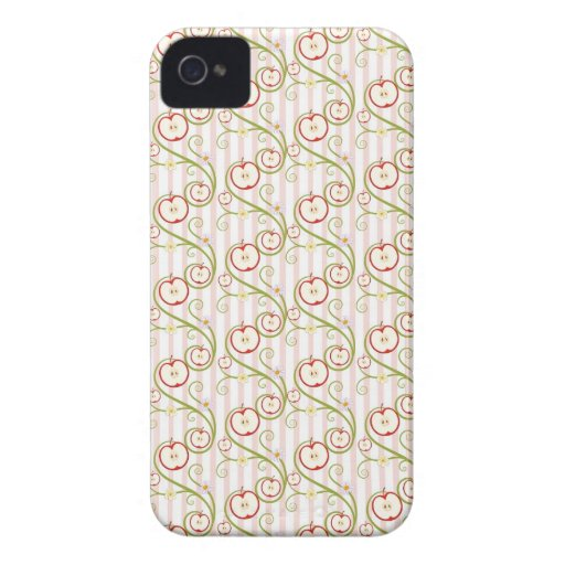 Apple slices and flower with pink stripes iPhone 4 cover