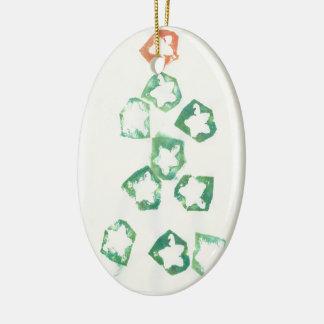 Apple Star Christmas Tree Ceramic Oval Decoration