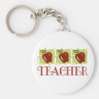 Apple Teacher School Gift Basic Round Button Key Ring