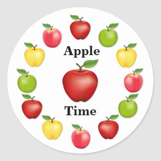 Apple Time, Delicious, Granny Smith, Pink Variety Classic Round Sticker