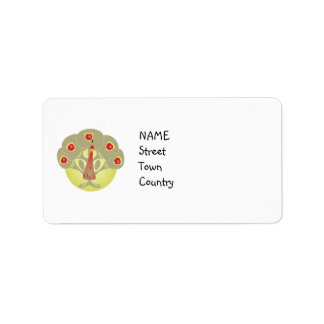 Apple Tree or Face or Peacock Address Label