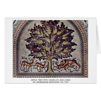 Apple Tree With Gazelles And Lions Card