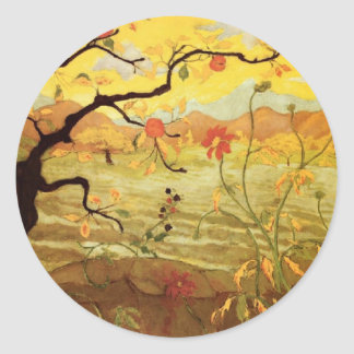 Apple Tree with Red Fruit Classic Round Sticker