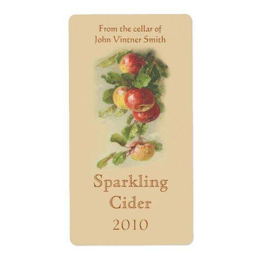 Apple wine bottle label shipping label