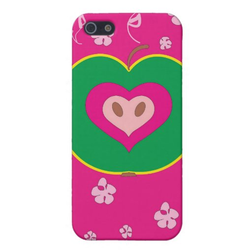 Apple with Love Heart Case Covers For iPhone 5