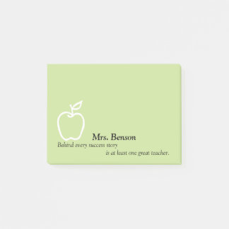 Apple with Teacher's Quote Personalized 4 x 3 Post-it Notes