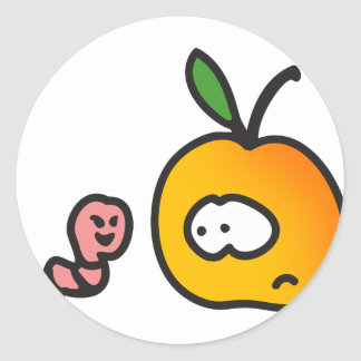 Apple with worm classic round sticker