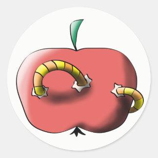 Apple with worm round sticker