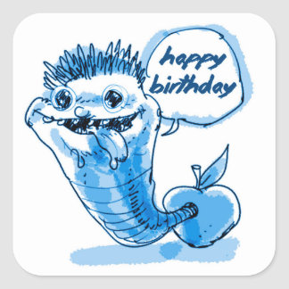apple worm cartoon happy birthday square sticker