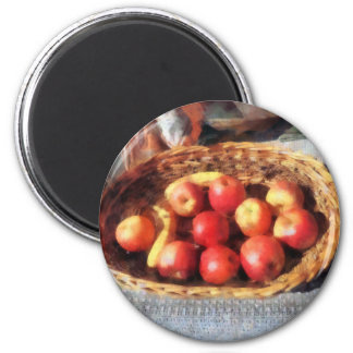 Apples and Bananas in Basket Refrigerator Magnets