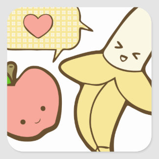 Apples and Bananas (textless) Square Sticker