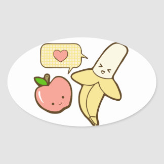 Apples and Bananas (textless) Oval Stickers