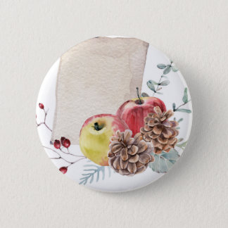 Apples and cones watercolour. 6 cm round badge