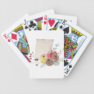 Apples and cones watercolour. bicycle playing cards