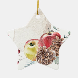 Apples and cones watercolour. ceramic ornament