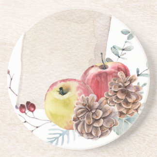 Apples and cones watercolour. coaster