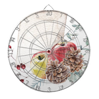 Apples and cones watercolour. dartboard