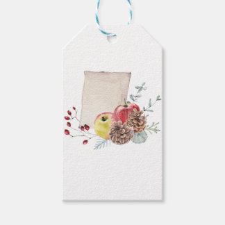 Apples and cones watercolour. gift tags
