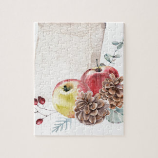 Apples and cones watercolour. jigsaw puzzle