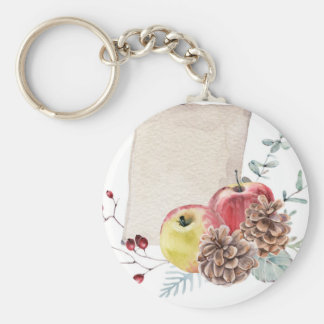 Apples and cones watercolour. key ring