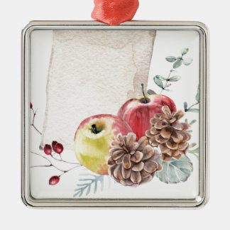 Apples and cones watercolour. metal ornament