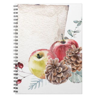 Apples and cones watercolour. notebook