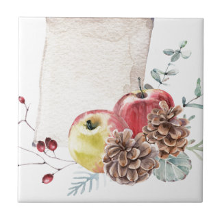 Apples and cones watercolour. tile