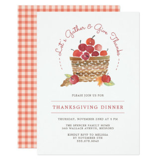 Apples and Gingham Thanksgiving Dinner Invitation