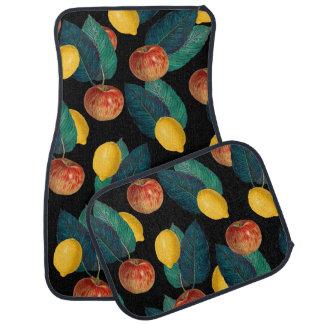 apples and lemons black car mat