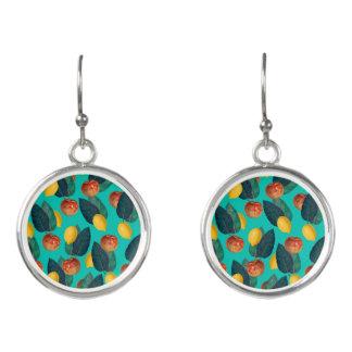apples and lemons teal earrings
