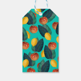 apples and lemons teal gift tags