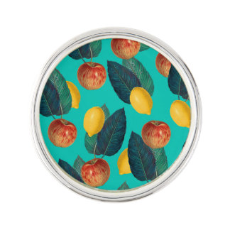 apples and lemons teal lapel pin