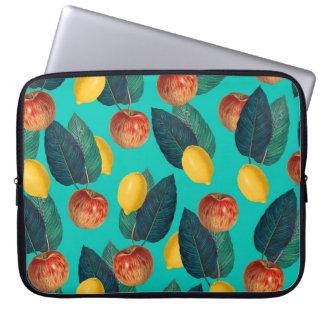 apples and lemons teal laptop sleeve