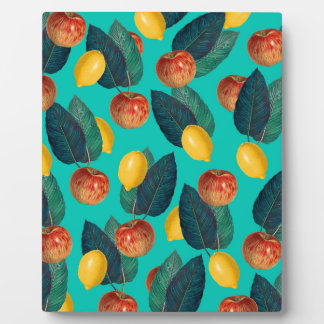apples and lemons teal plaque