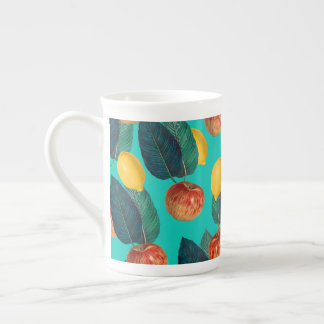 apples and lemons teal tea cup