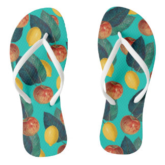 apples and lemons teal thongs