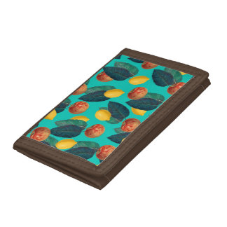 apples and lemons teal trifold wallets