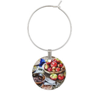 Apples And Nuts Wine Glass Charm