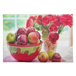 Apples Flowers and Colorful Vases Placemat